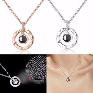 Light Projection Pendant Necklace for I Love You